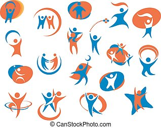 People silhouette icons or logo templates - Abstract people...