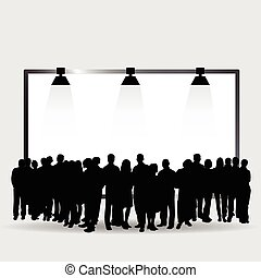 people silhouette illustration under the light