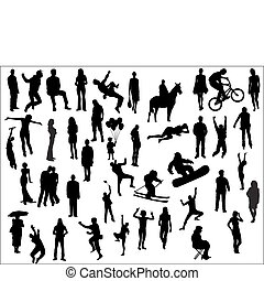 people silhouette - pack of various people silhouettes
