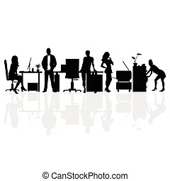 people silhouette in office illustration