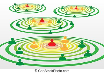 People silhouette symbols in concentric circles concept with...