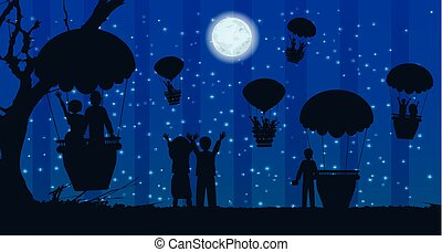 people silhouette travel landscape air balloon