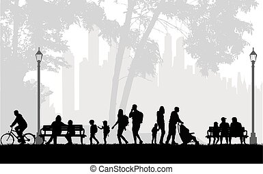 People silhouette, urban background.