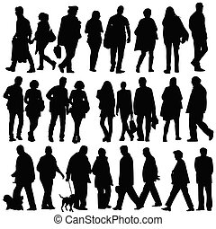 people silhouette walking vector