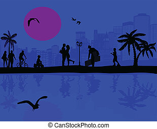 People silhouette with reflection on water