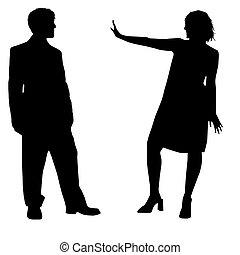 People silhouettes black white