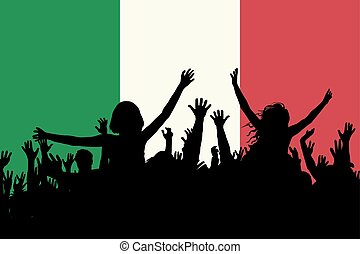 People silhouettes celebrating Italy national day