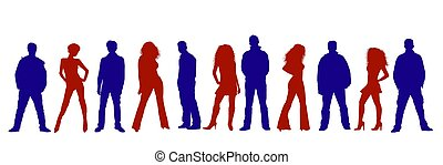 People silhouettes colored