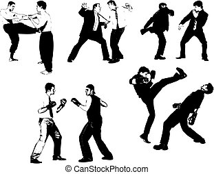 People  silhouettes. Fight, straggle. Vector illustration