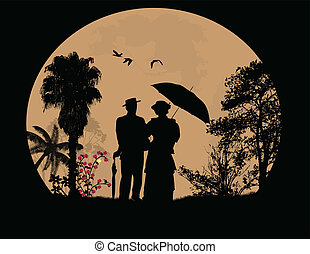 People silhouettes in front of full moon