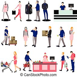 People silhouettes in shopping mall. Icons isolated on white background. Vector illustration flat style design.