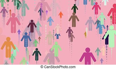 People silhouettes in various colors