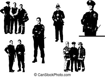 People silhouettes. Policemen, fireman, medical assistant. ...