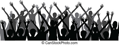 People silhouettes - silhouettes of a group people -vector ...