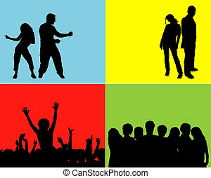 People silhouettes - Silhouettes of crowd, audience, people...