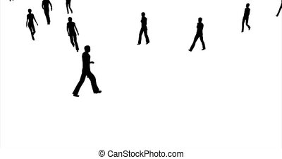People silhouettes walking 3d footage