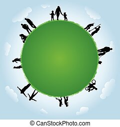 People silhouettes with globe illustration