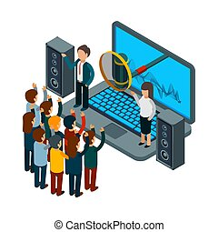 People sing. Choir recording song. Vector isometric music concept