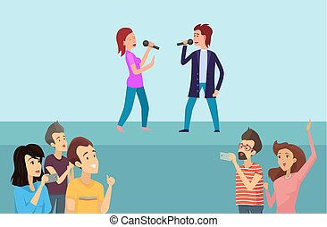 People Singing Song and Recording Show Vector