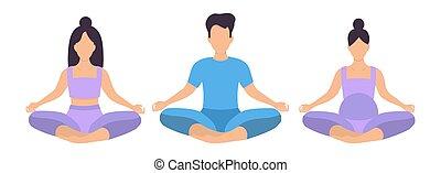 People sit cross-legged in the lotus position, a basic asana...