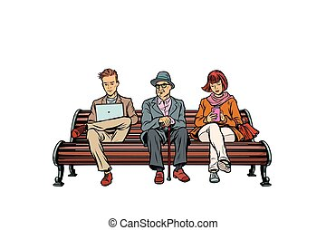 people sit on the bench. pensioner, woman and man