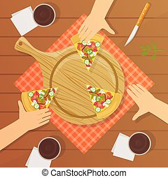 People Sitting at Table and Eating Pizza Together, Top View Vector Illustration