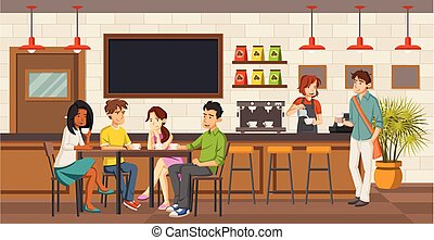 People sitting in a coffee shop