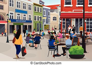 People Sitting in Outdoor Cafe