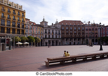 Burgos square - People sitting in the Burgos square
