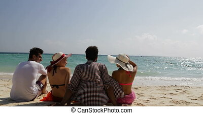 People Sitting On Beach Talking Happy Raised Hands Back Rear...