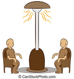 People Sitting Under a Lamp Heater - An image of a people...