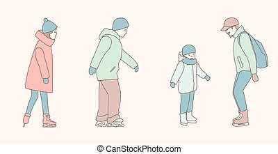 People skate at ice rink in park in the winter. hand drawn style vector doodle design illustrations on white background