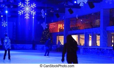 People skate on ice. Ice skating.