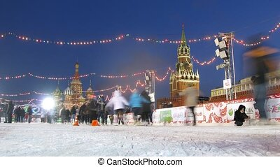 People skate on main skating rink of country near Kremlin in Tatjana day