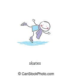 People skating on the ice. Illustration.