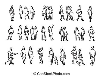 People sketch. Casual group of people silhouettes. Outline hand drawing illustration.