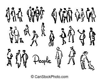 People sketch. Outline hand drawing illustration