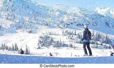 People Ski Past In Snowfall