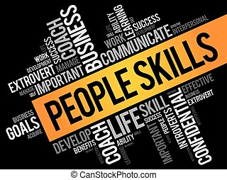 People Skills word cloud collage, business concept...