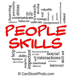 People Skills Word Cloud Concept in red capital letters with great terms such as emotional, interpersonal, awareness, business, social, develop and more