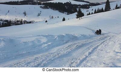 People sledding on horseback in Carpathians