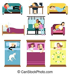 People sleeping at home, at work, in transport set of cartoon vector illustrations
