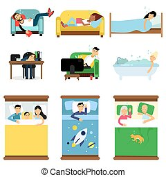 People sleeping at home, at work set, men and women sleeping in bed, sofa with kids, pets, together cartoon vector illustrations