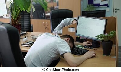 People sleeping in office at work places