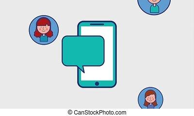 people smartphone speech bubble social media animation hd