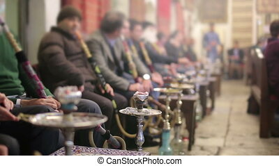 People smoking shisha at Nargile Cafe, Istanbul