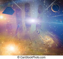 People soaring toward light amongst stars