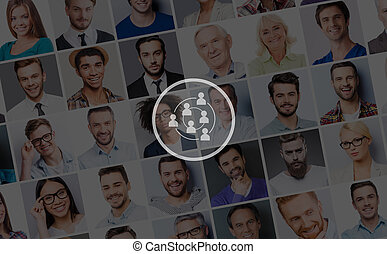 People social connection. Collage of diverse multi-ethnic and mixed age people expressing different emotions