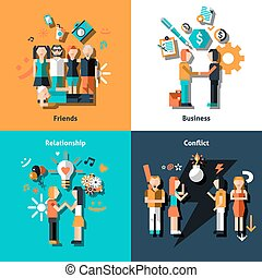 People social relationship with friends business love conflict icons set isolated vector illustration.