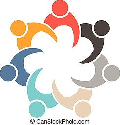 People Socializing in meeting 7 logo. Vector graphic design